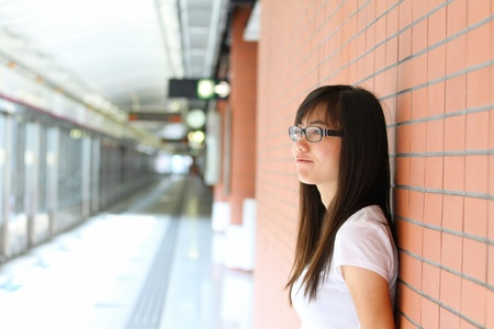 Asian girl thinking photo