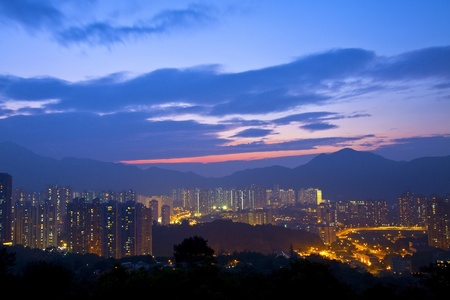 Hong Kong sunset in downtown area photo