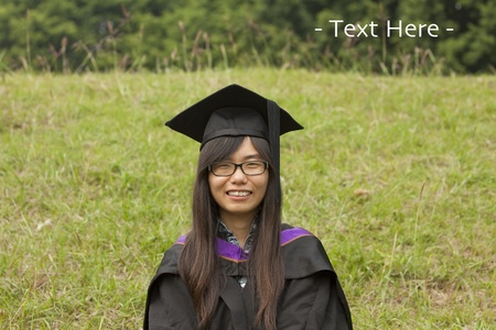 Asian woman graduation in university photo