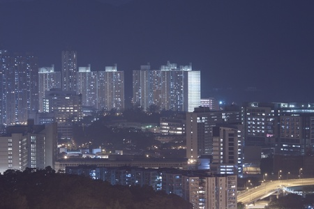 Hong Kong apartment blocks at night Stock Photo - 11300069