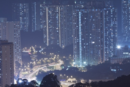 Hong Kong apartment blocks at night photo