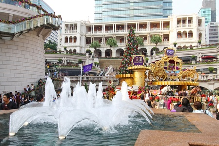 HONG KONG - NOV 13: Crowds gather at 1881 Heritage or former Marine Police Headquarters market square for Christmas decorations on 13 November, 2011. It is one of the most famous spot for seeing Christmas trees in Hong Kong.