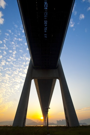 bridge construction: Tsing Ma Bridge landmark in Hong Kong under sunset Editorial