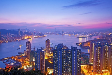 Hong Kong at sunset moment photo