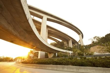Highway and freeway at sunset in Hong Kong photo