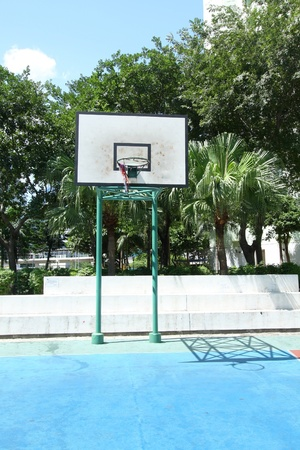Basketball court in housing estate photo