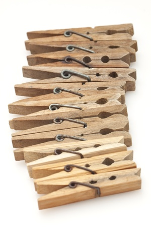 Clothespins isolated on white background photo