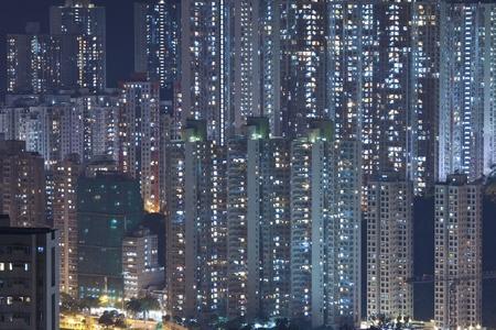 Hong Kong crowded apartments at night - The feeling of  Imagens