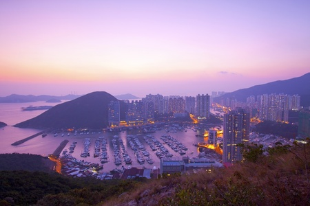 Hong Kong sunset at hilltop  photo