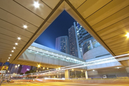 Busy traffic under the bridges in Hong Kong at night Stock Photo - 11701026