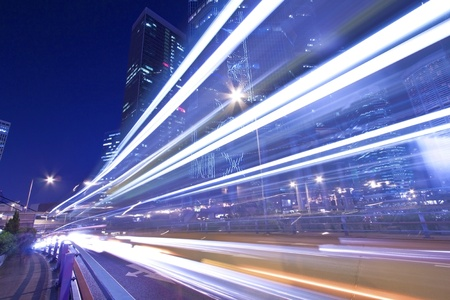 Light trails in Hong Kong highway at night Stock Photo - 11701019
