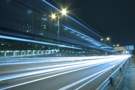 Traffic on highway of Hong Kong at night photo
