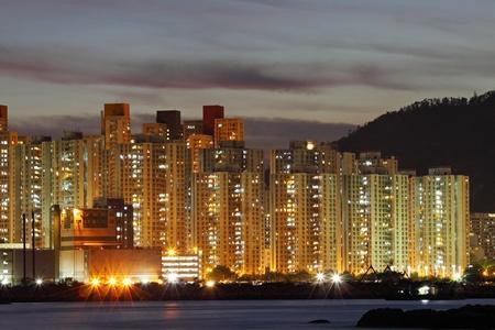 Hong Kong apartment blocks at night Stock Photo - 11701022