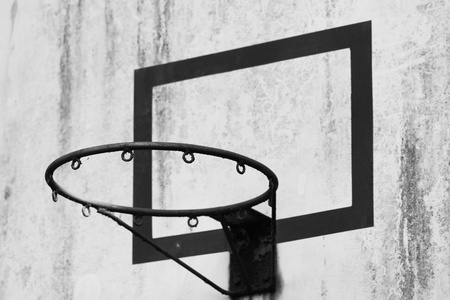 Close-up shot of a basketball hoop photo