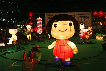 victoria park: HONG KONG - SEPT 13,  Victoria Park Mid-Autumn Lantern Carnival on 12 September; 2011 in Victoria Park; Hong Kong. It is one of the celebration event in Mid-Autumn Festival this year.
