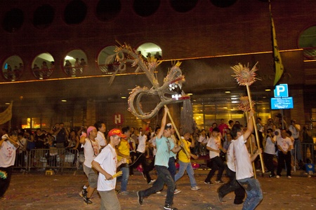 HONG KONG - SEPT 13, Tai Hang Fire Dragon Dance at night in Tai Hang, Hong Kong on 13 Sepetember, 2011. It is a part of China's intangible cultural heritage and a custom during Mid-autumn festival. Stock Photo - 11786868