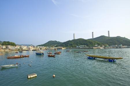 Coastal area with many fishing boats in Lamma Island, Hong Kong.  Stock Photo - 11834644