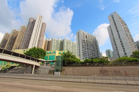 Hong Kong downtown and public housing photo