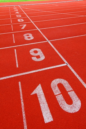 lane lines: Running track with number 1-10 Stock Photo