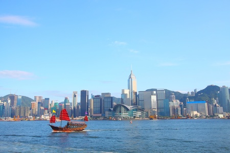 Junk boat in Hong Kong at Victoria Harbour Stock Photo