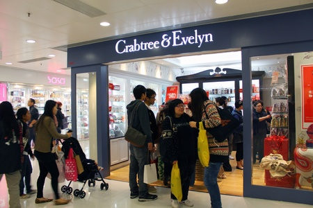 HONG KONG - DEC 22,  Crabtree and Evelyn opens a shop in Tuen Mun, Hong Kong on 22 Decemeber, 2011. There are many people shopping there.