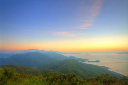 majestic mountain: Majestic mountain landscape at sunset  Stock Photo
