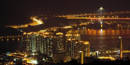 Hong Kong downtown at night photo