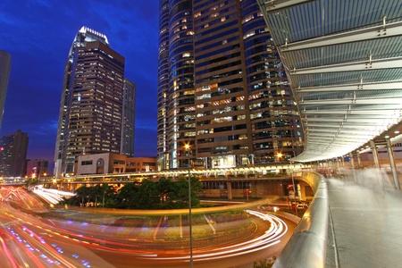 Traffic through downtown of Hong Kong at night Stock Photo - 11835586