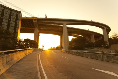 flyover: Highway at sunset