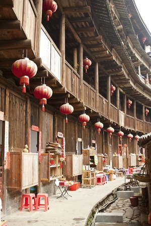 Interior of Tulou in Fujian, China Editorial