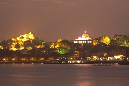 Gulangyu Island at sunset from Xiamen downtown photo