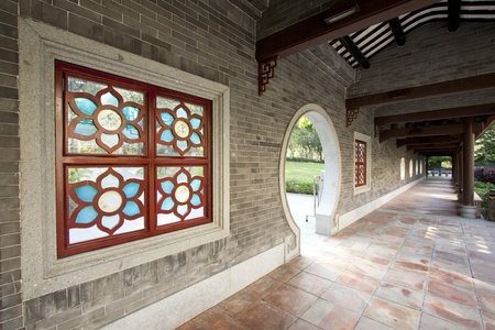 Chinese style corridor in a garden photo