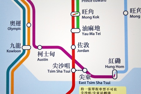 HONG KONG - JAN 17, Hong Kong MTR route map in a MTR station in Hong Kong on 17 January, 2012.