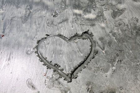 Heart on mud photo