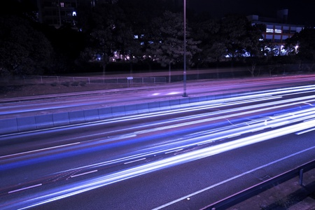 Traffic in highway of Hong Kong at night Stock Photo - 12362229