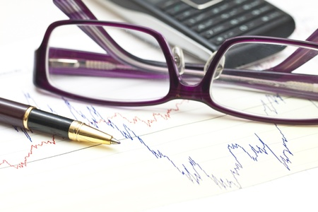 Stock charts and financial accounting Stock Photo - 12362397
