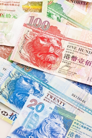 Hong Kong currency with different dollars background