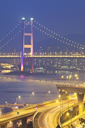 Tsing Ma Bridge in Hong Kong with highway background photo