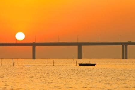 Sunset scene along the coast in Hong Kong photo