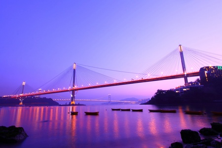 Ting Kau Bridge in Hong Kong at ngiht