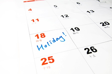 Holiday on calendar concept Stock Photo - 12685257