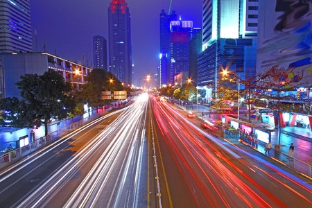 Traffic through downtown of Shenzhen at night photo