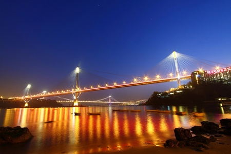 Ting Kau Bridge in Hong Kong at night photo