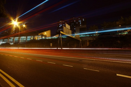 Modern city with night traffic Stock Photo - 12685479