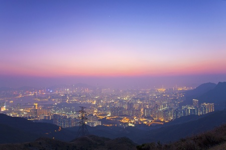 Hong Kong sunset at peak photo