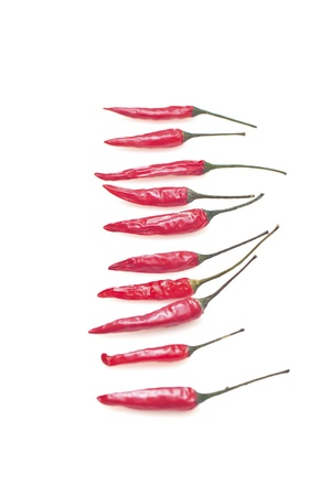 hottest: Red peppers isolated on white background