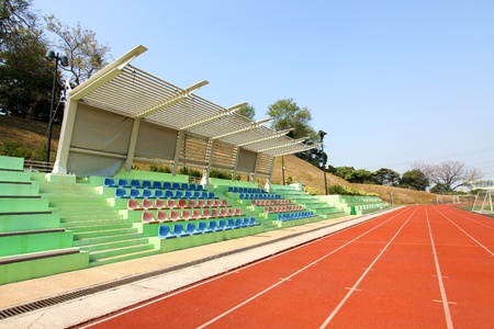 Stadium seats and running track