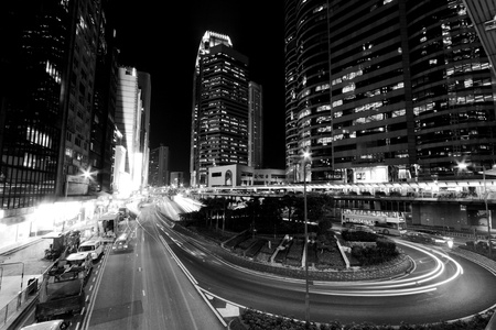 Hong Kong at night in black and white toned