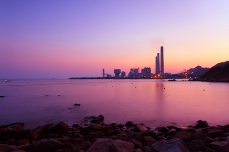 Sunset over the coast in Hong Kong photo