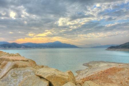 Sunset along the reservoir in Hong Kong Stock Photo - 12725812